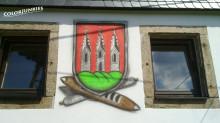 Tuchmacherwappen am ältesten Tuchmacherhaus Kirchbergs